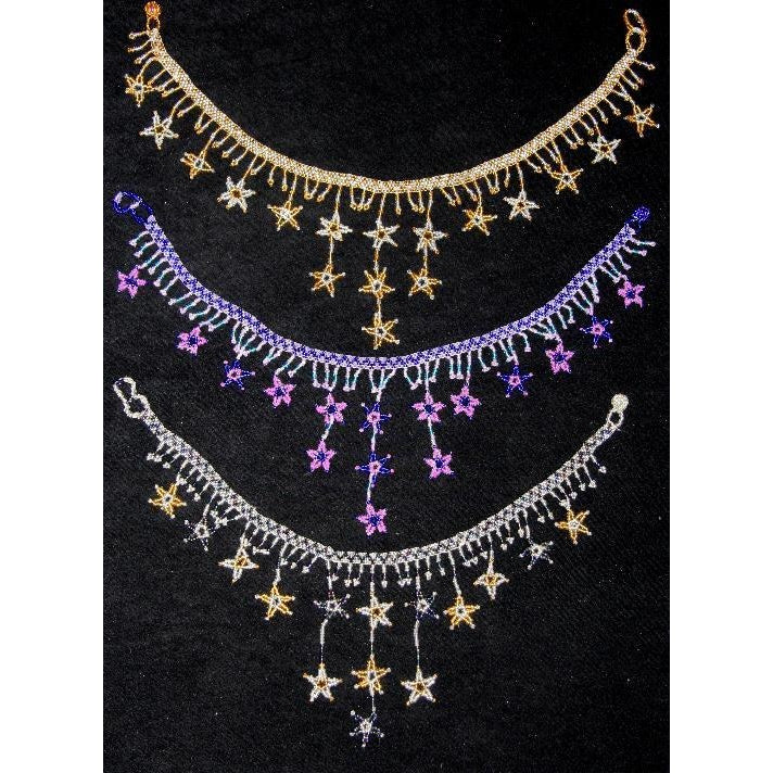 Beaded star beadwork fringe glass bead necklace choker bellydance bollywood genie fairy jewelry