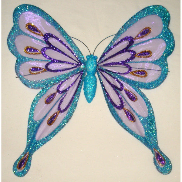 Turquoise Blue Purple Gold Butterfly decoration glitter design pinched wings tree butterfly theme ornament