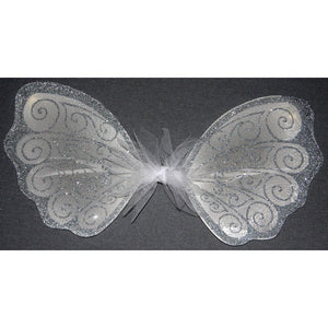 Flower girl fairy wings white silver handmade wedding wings