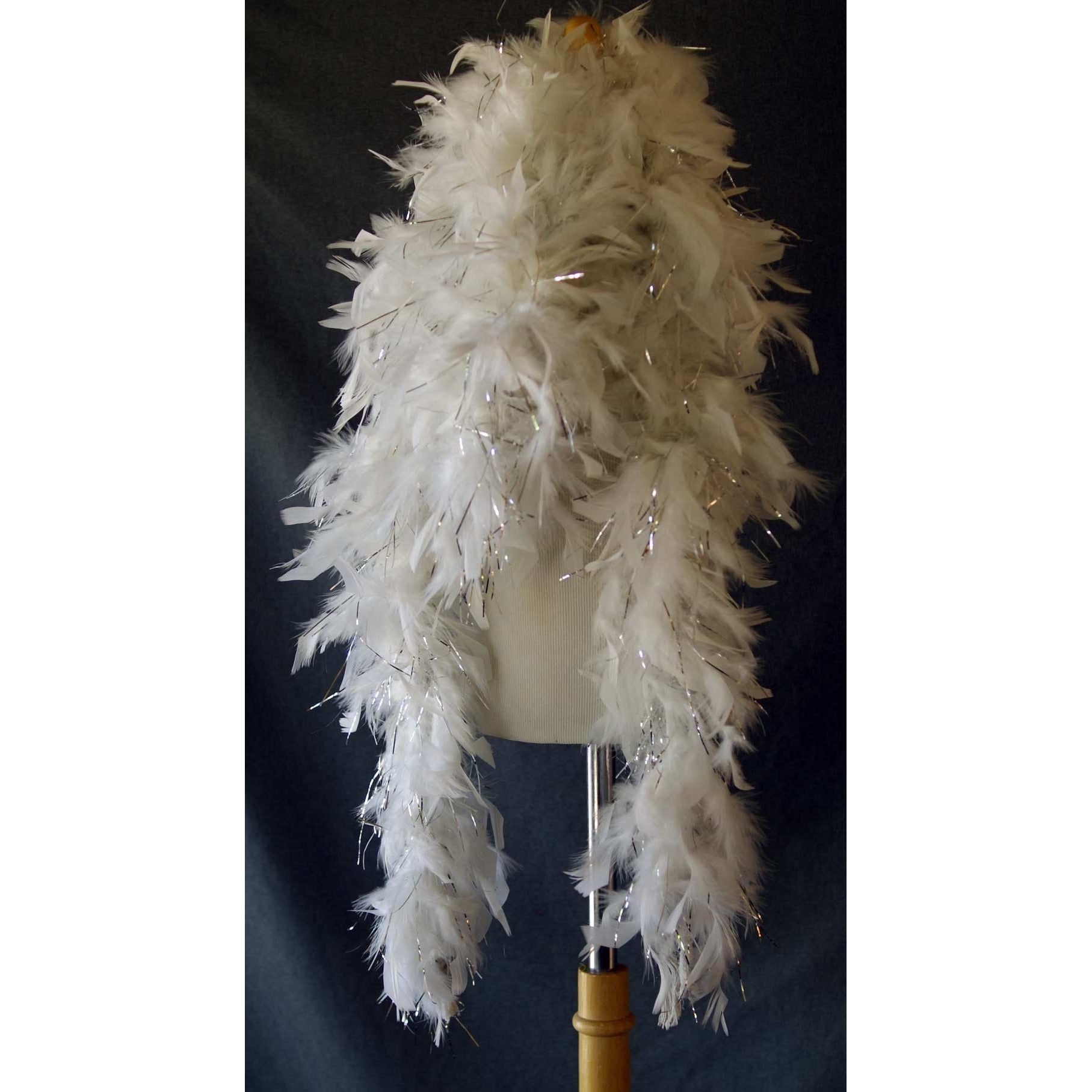 Long White Thick Feather Boa tinsel glitter strips