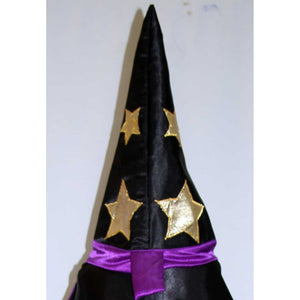 Harry Potter Wizard hat black purple gold pointy witches hat