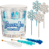 Frozen Ice Rock Candy Sticks - Individually Wrapped Rock Candy on a Stick with Ice Princess Wands Wand