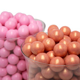 "Rose Gold Gumballs - One Inch in Diameter - 2 Pound Bag - About 120 Gumballs Per Bag - Includes ""How to Build a Candy Buffet"" Guide"