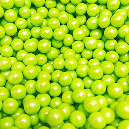 Candy Pearls - Shimmer Lime Green, 2 Pound Bags - Delicious Toppings on Desserts or Fillers for Candy Tables