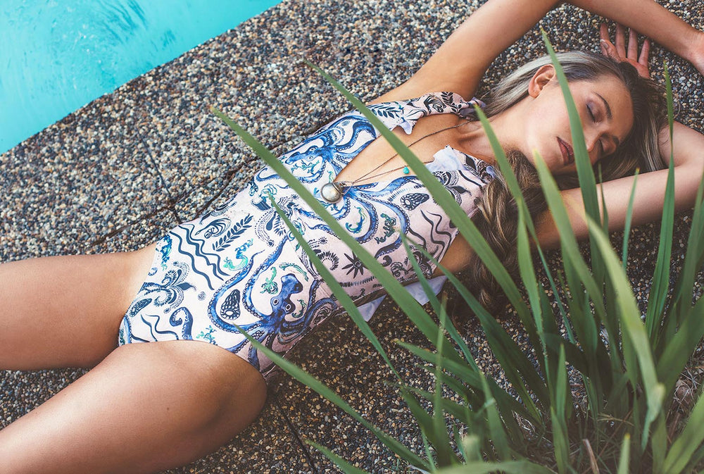 Salty Fox Daphne one piece swimsuit in our signature print Ancient Sea