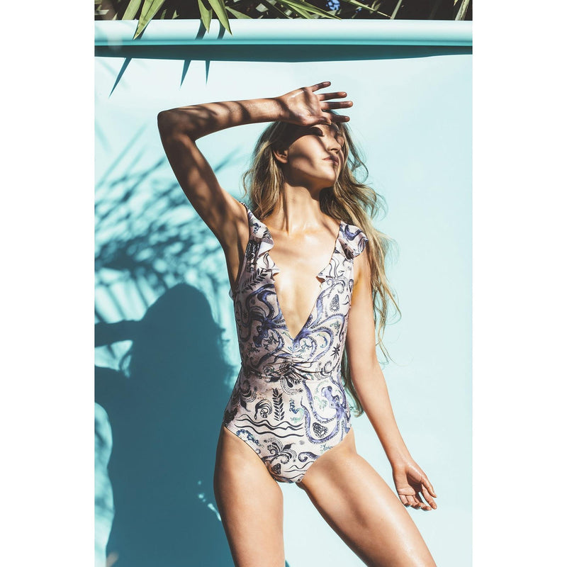 Salty Fox Daphne One piece swimsuit with frill V neck detail in signature octopus print Ancient Sea size 8