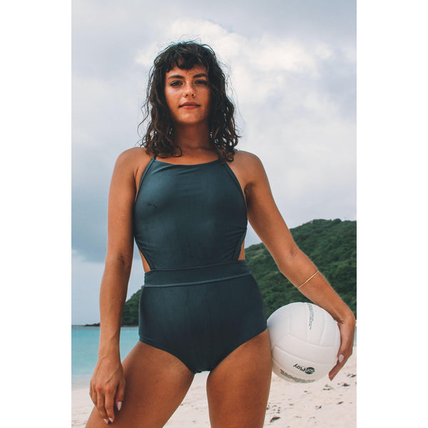Salty Fox Mordecai high neck , high waisted one piece swimsuit  in metallic charcoal black size 12