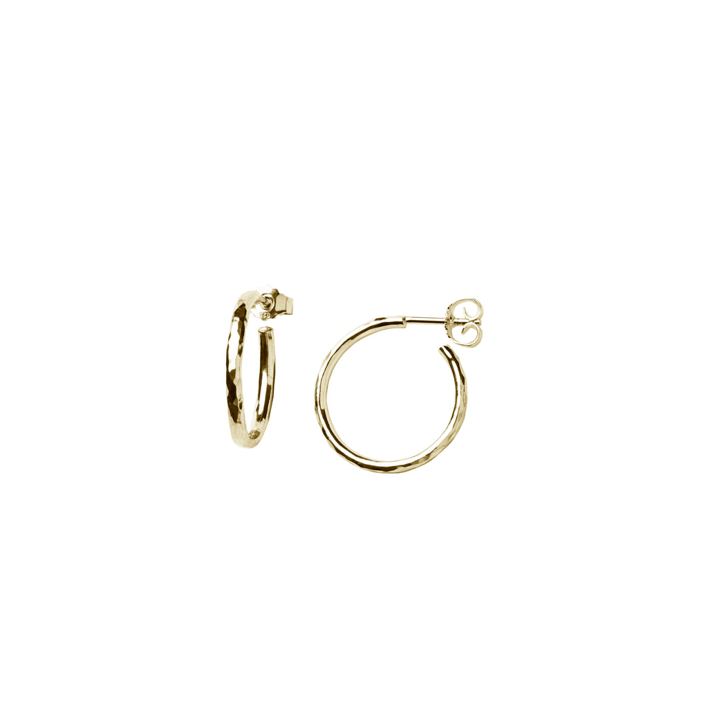 Hammered Classic Hoops Gold Plated Small