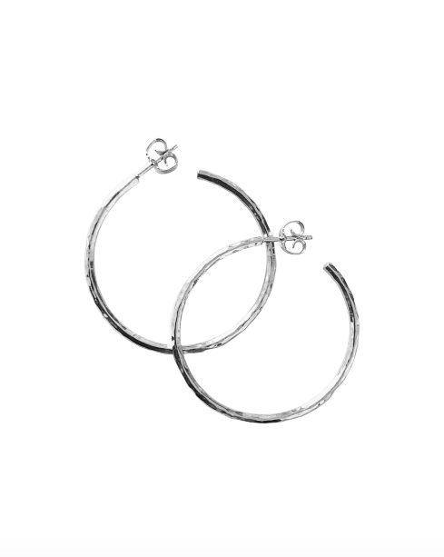 Hammered Oversized Hoops Silver
