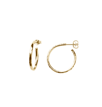 Hammered Classic Hoops Gold Plated