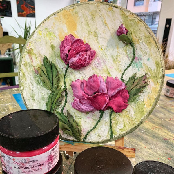 Masterclass for sculptural painting for making a unique decoratice panel of flowers