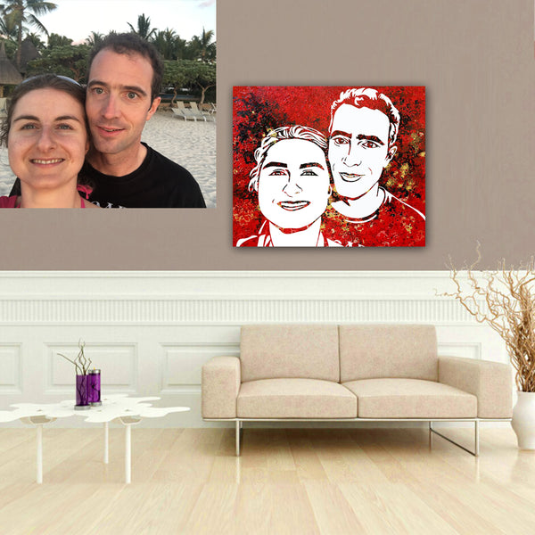 Personal pop art portrait for your loved one with the final touches from you