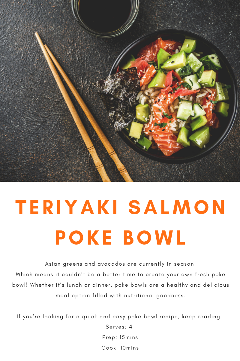 Asian greens and avocados are currently in season. Which means it couldn't be a better time to create your own fresh poke bowl. Whether it's lunch or dinner, poke bowls are a healthy and delicious meal option filled with nutritional goodness.