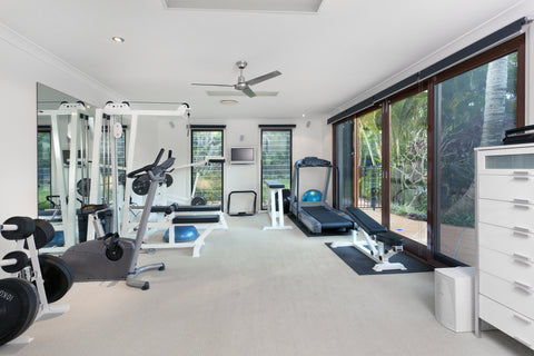 home gym with treadmill, exercise bike, dumbbells, weights, squat rack, lat pulldown, weight bench, kettlebell