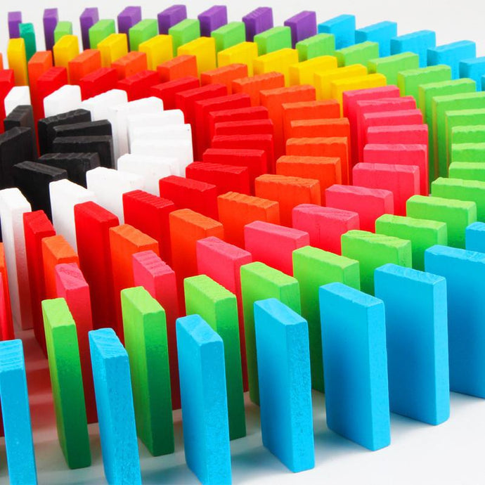 100 Piece Dominos Game Set | 10 Colours Building and Stacking Toy - Trinkets & More