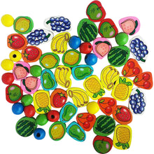 56 Piece Fruit Bead Wooden Lacing Toy | Stringing Beading Game - Trinkets & More