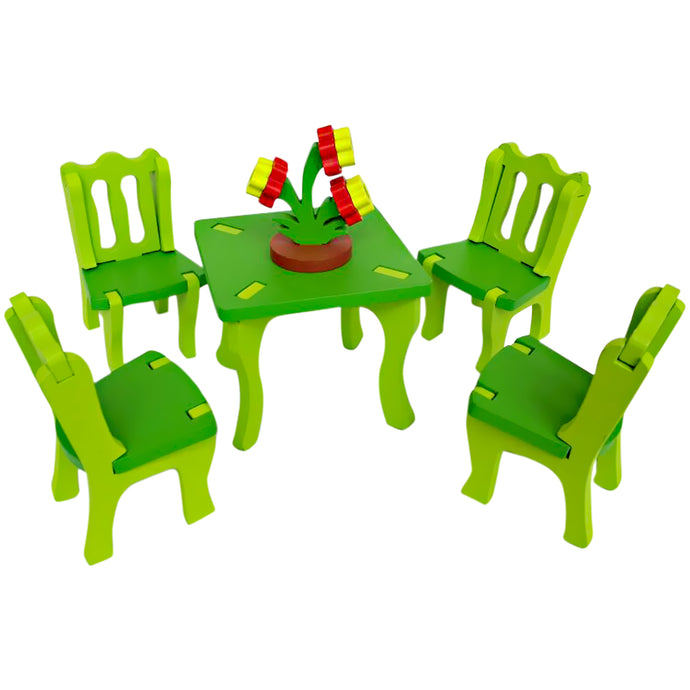3D Miniature Dinning Table Set | Reassembly DIY Dollhouse - Trinkets & More