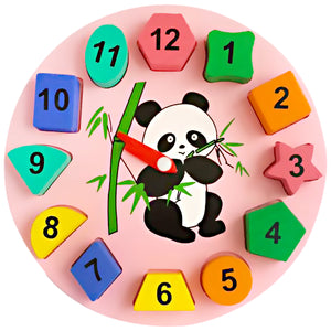 Geometric Shape Sorter Clock | Panda Themed - Trinkets & More