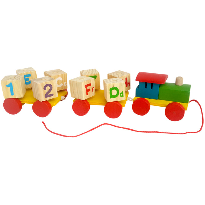 Whirlwind Pull-along Train (Plain) | Number and Alphabet Rotating Blocks - Trinkets & More