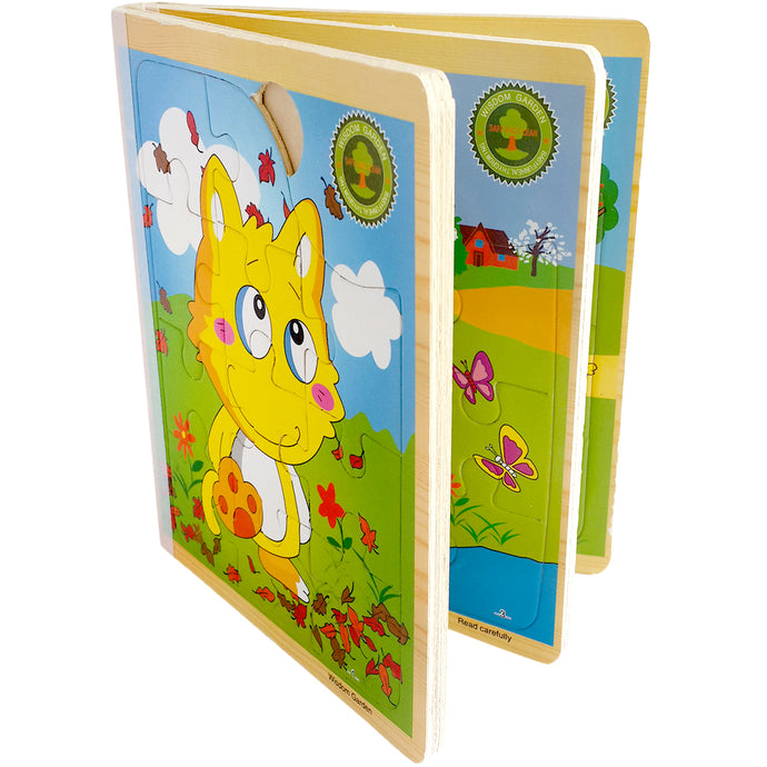 Wooden 3D Book Jigsaw Puzzle (6-in-1 & 66 Pieces) | Animal Themed