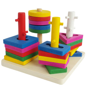 Geometric Shape Sorter 4 Set of Columns - Trinkets & More