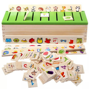 Knowledge Classification Box (Numbers, Shapes, Vehicles, Vegetables, Animals and Fruits) - Trinkets & More