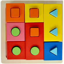Premium Wooden Shape Sorter Puzzle | Geometric Set of Columns - Trinkets & More