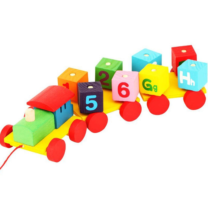 Whirlwind Pull-along Train (Colour) | Number and Alphabet Rotating Blocks - Trinkets & More