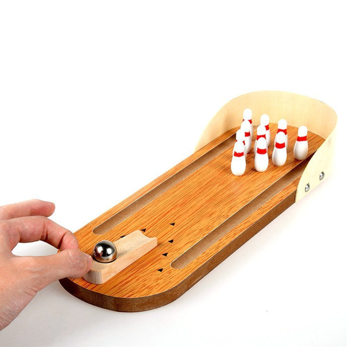 Miniature Wooden Bowling Game | Desktop Office Indoor Games - Trinkets & More