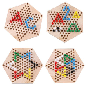 Chinese Checkers Hexagon Board with Wooden Marbles | Superb Family Game - Trinkets & More