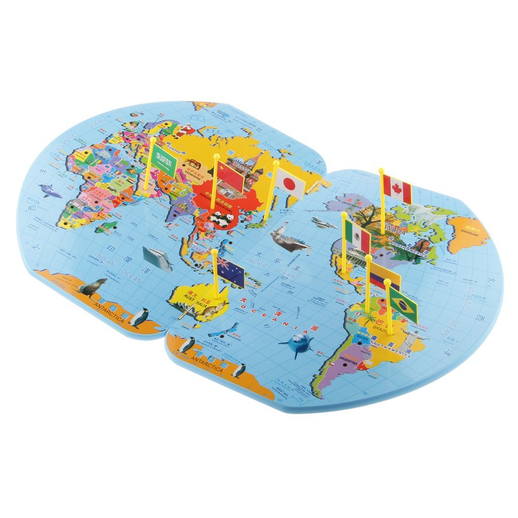 Trinkets more wooden world map with 36 flags geography made fun world map with 36 flags geography made fun trinkets gumiabroncs Gallery