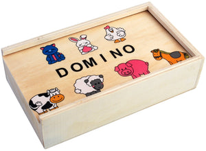 28 Pieces Wooden Dominos Game Set | Farm Animal Theme Puzzles - Trinkets & More