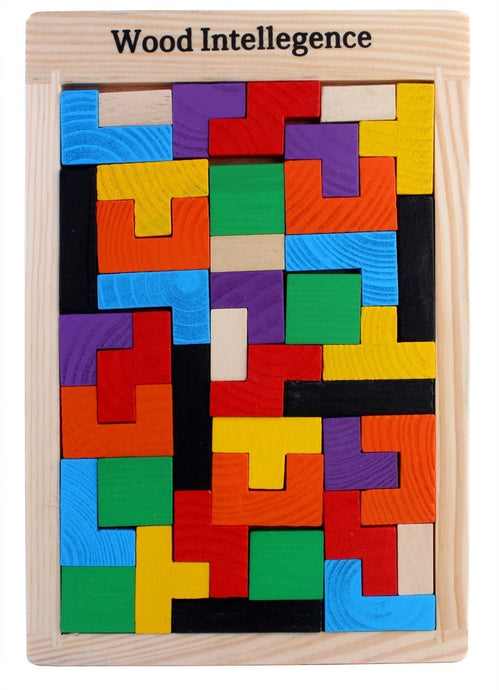 Tetris Wooden Jigsaw Puzzle (40 Pieces) | Wood Intelligence Game - Trinkets & More