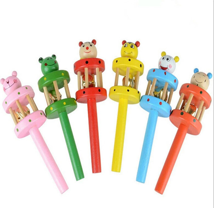 Cartoon Faced Animal Bell Rattle for Toddlers - Trinkets & More