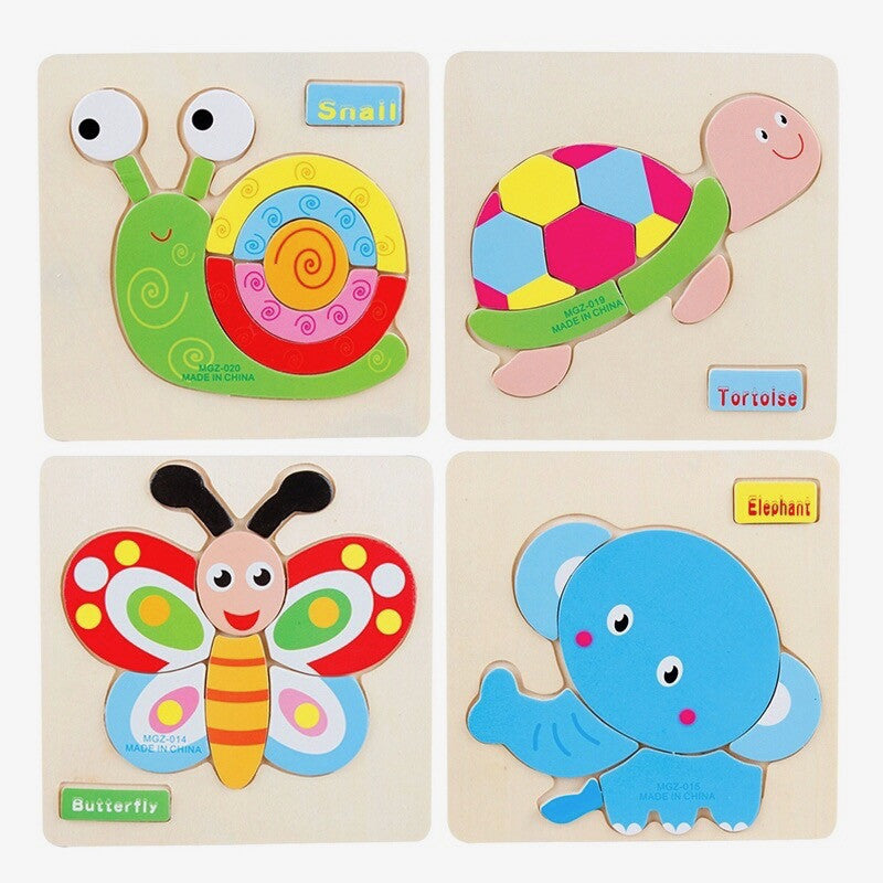 3D Wooden Puzzles Animal Vehicles Theme (Set of 4) - Trinkets & More
