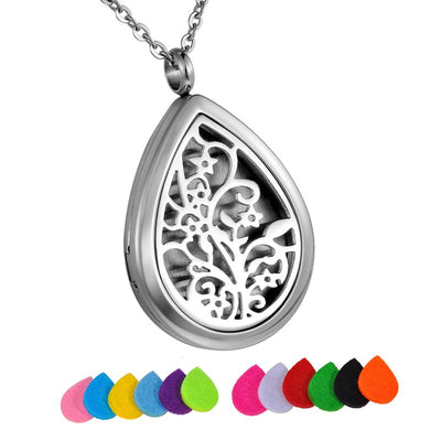 Tree Life Water Drop Oil Diffuser Necklace