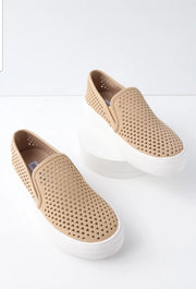 Gal Camel Perforated Slip-On Flatform Sneakers