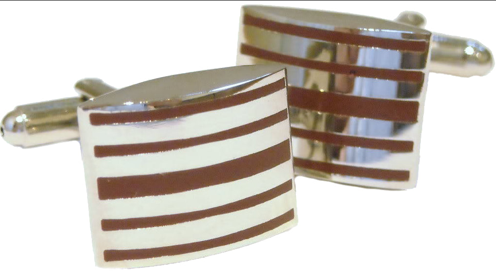 Bold Maroon Mulberry Striped Enamel and Silver Rhodium Plated Cufflinks
