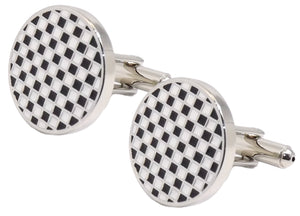 Silver Black and White Check Circular Enamel Gift Cufflinks by CUFFLINKS DIRECT