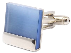 Modern Contemporary Blue Fibre Optic Square Mens Gift Cufflinks CUFFLINKS DIRECT