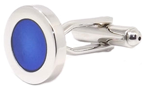 Executive Blue Round Enamel Design Mens Gift Cuff links by CUFFLINKS DIRECT