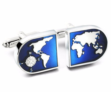 Unusual Blue World Planet Enamelled Mens Gift Cufflinks