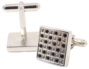 Square Black crystal and Silver Checked Man Gift Cuff links by CUFFLINKS DIRECT