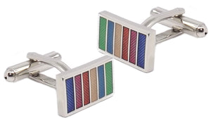 Small Rainbow Stripe Rectangle Enamel Mens Gift Cuff links by CUFFLINKS DIRECT