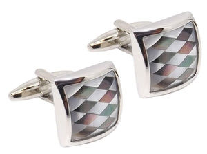 Mother of Pearl Diamond Mosaic Mens Wedding Gift cuff links by CUFFLINKS DIRECT