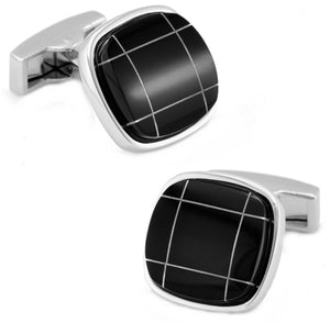 Quality Black Onyx with Silver Detail Square Mens Cuff links by CUFFLINKS DIRECT