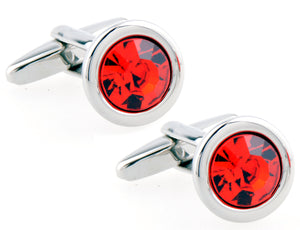Stunning Hand Crafted Small Red Crystal and Silver Cuff links by CUFFLINKS DIRECT