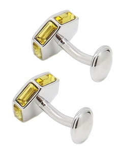 Yellow Crystal & Sliver Modern Mens Wedding Gift Cuff Links by CUFFLINKS DIRECT