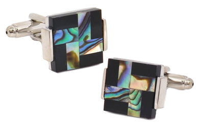 Abalone Shell & Black Onyx Cross Square Mens Wedding Gift by CUFFLINKS DIRECT