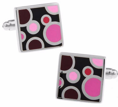 Pink Bubble Silver Men Business Shirt Square Wedding Cuff Links CUFFLINKS.DIRECT